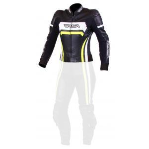 Dámská bunda na motorku RSA Virus černo-bílo-fluo žlutá