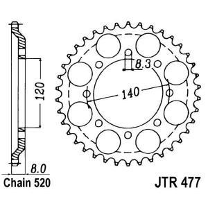 Řetězová rozeta JT JTR 477-43 43 zubů, 520