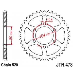 Řetězová rozeta JT JTR 478-45 45 zubů, 520