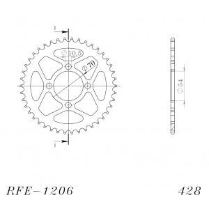 Řetězová rozeta SUPERSPROX RFE-1206:42-BLK černý 42 zubů, 428