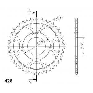 Řetězová rozeta SUPERSPROX RFE-1221:44-BLK černý 44 zubů, 428
