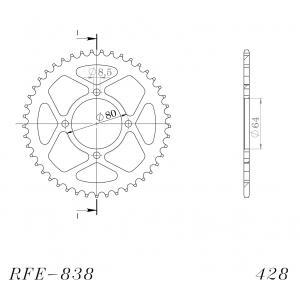 Řetězová rozeta SUPERSPROX RFE-838:45-BLK černý 45 zubů, 428