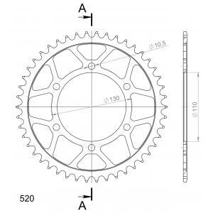Řetězová rozeta SUPERSPROX RFE-486:46-BLK černý 46 zubů, 520