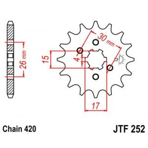 Řetězové kolečko JT JTF 252-12 12 zubů, 420
