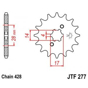 Řetězové kolečko JT JTF 277-13 13 zubů, 428