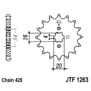 Řetězové kolečko JT JTF 1263-14 14 zubů, 428