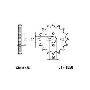 Řetězové kolečko JT JTF 1550-14 14 zubů, 428