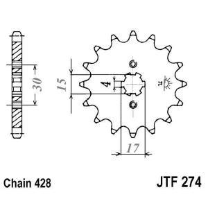 Řetězové kolečko JT JTF 274-15 15 zubů, 428