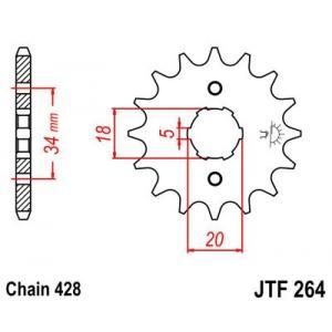 Řetězové kolečko JT JTF 264-15 15 zubů, 428