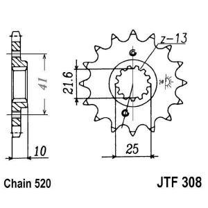 Řetězové kolečko JT JTF 308-15RB 15 zubů, 520 rubber cushioned