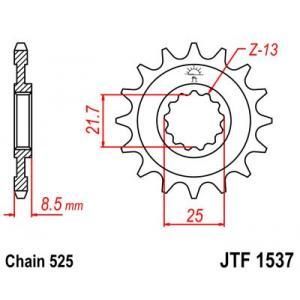 Řetězové kolečko JT JTF 1537-15RB 15 zubů, 525 rubber cushioned