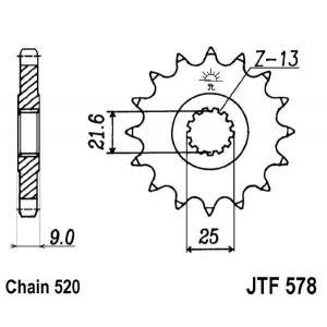 Řetězové kolečko JT JTF 578-16 16 zubů, 520