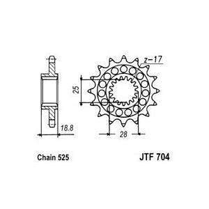 Řetězové kolečko JT JTF 704-16RB 16 zubů, 525 rubber cushioned