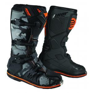 Boty na motorku Shot X10 2.0 černo-camo-fluo oranžové