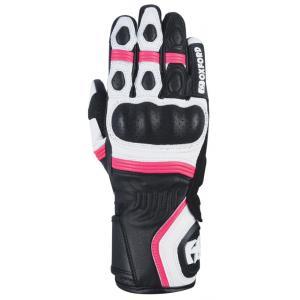 Dámské rukavice na motorku Oxford RP-5 2.0 bílo-černo-růžové