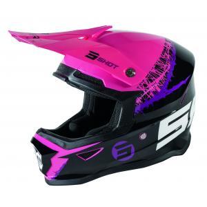 Dětská motokrosová přilba Shot Furious Storm černo-růžovo-fialová