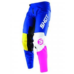 Dětské motokrosové kalhoty Shot Devo Storm modro-žluto-bílo-růžové