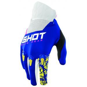 Dětské motokrosové rukavice Shot Devo Storm modro-žluto-bílo-růžové