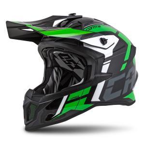 Motokrosová přilba Cassida Cross Pro II Contra černo-šedo-bílo-zelená výprodej