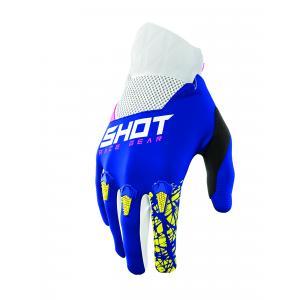 Motokrosové rukavice Shot Devo Storm modro-žluto-bílo-růžové výprodej