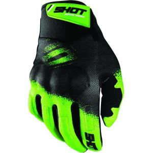Motokrosové rukavice Shot Drift Smoke černo-fluo zelené