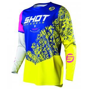 Motokrosový dres Shot Devo Storm modro-žluto-bílo-růžový