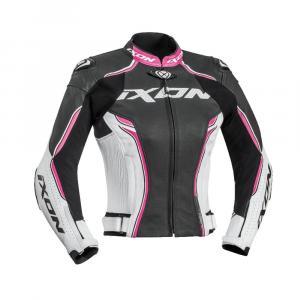 Dámská bunda na motorku IXON Vortex černo-bílo-růžová