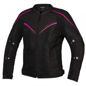 Dámská bunda na motorku Rebelhorn Hiflow IV černo-fluo růžová