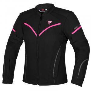Dámská bunda na motorku Rebelhorn Luna černo-fluo růžová