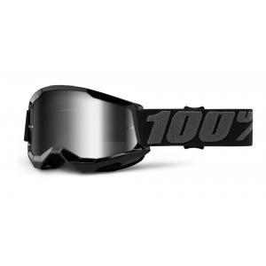 Dětské motokrosové brýle 100% STRATA 2 černé (stříbrné zrcadlové plexi)