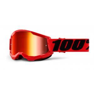 Dětské motokrosové brýle 100% STRATA 2 červené (červené zrcadlové plexi)
