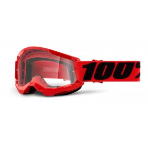 Dětské motokrosové brýle 100% Strata 2 červené (čiré plexi)