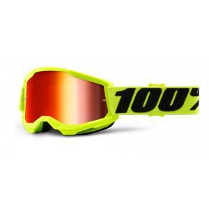 Dětské motokrosové brýle 100% STRATA 2 fluo žluté (červené zrcadlové plexi)