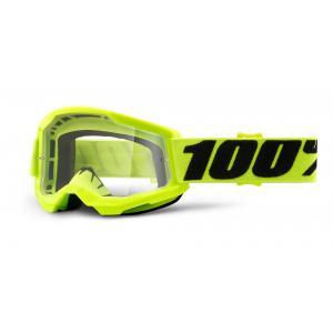 Dětské motokrosové brýle 100% STRATA 2 fluo žluté (čiré plexi)
