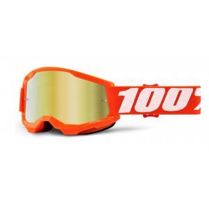 Dětské motokrosové brýle 100% STRATA 2 oranžové (zlaté zrcadlové plexi)