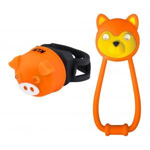 Dětské přední + zadní světlo KELLYS Animal oranžové