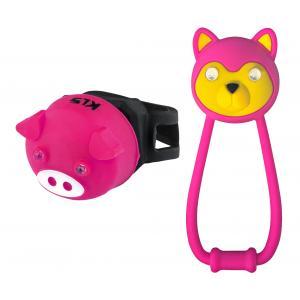 Dětské přední + zadní světlo KELLYS Animal růžové