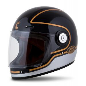 Integrální přilba na motorku Cassida Fibre Jawa Sport černo-stříbrno-zlatá