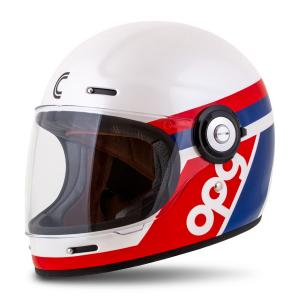 Integrální přilba na motorku Cassida Fibre OPG bílo-modro-červená