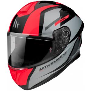 Integrální přilba na motorku MT FF106 Pro Targo Pro Sound černo-šedo-fluo červená