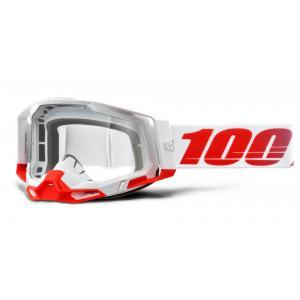 Motokrosové brýle 100% RACECRAFT 2 bílo-červené (čiré plexi)