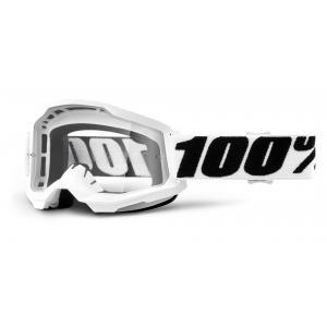 Motokrosové brýle 100% STRATA 2 bílé (čiré plexi)