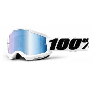 Motokrosové brýle 100% STRATA 2 bílé (modré zrcadlové plexi) výprodej