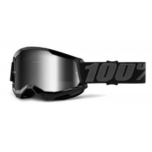 Motokrosové brýle 100% STRATA 2 černé (stříbrné zrcadlové plexi)