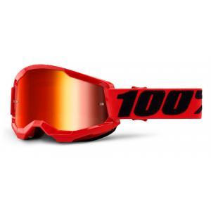 Motokrosové brýle 100% STRATA 2 červené (červené zrcadlové plexi)