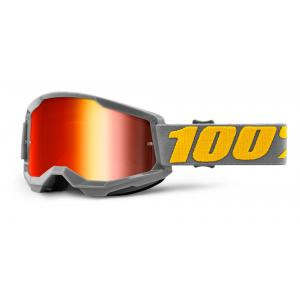 Motokrosové brýle 100% STRATA 2 šedé (červené zrcadlové plexi)