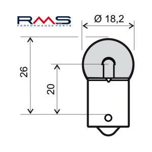 Žárovka RMS 246510235 12V 10W, R10 BA15S bílá