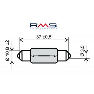 Žárovka RMS 246510165 12V 10W, T11X39 S8.5 bílá
