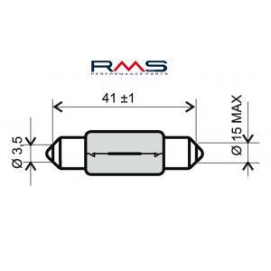 Žárovka RMS 246510145 12V 15W, T15X44 S8.5 bílá