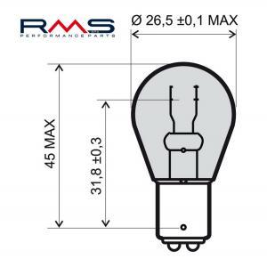 Žárovka RMS 246510365 12V 21/5W, BAY15D bílá